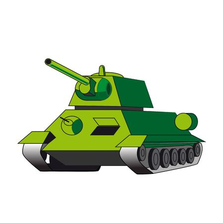 Military green tank isolated on white background. Illustration