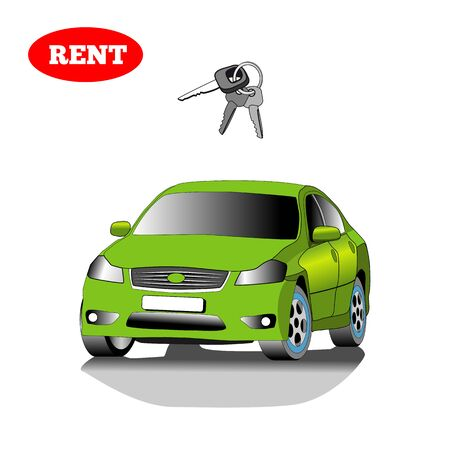 Car for rent with car key isolated on white background.  Vector illustration. Illustration