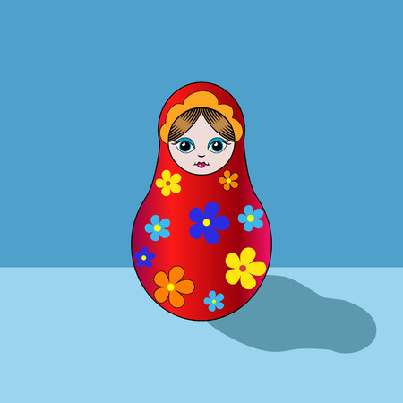 russian doll: Russian doll matryoshka illustration folklore in vector on a blue background.