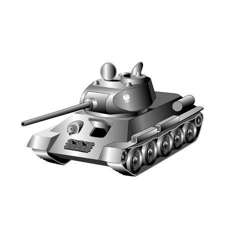 Medium battle tank isolated on white background. Vector illustration. Illustration