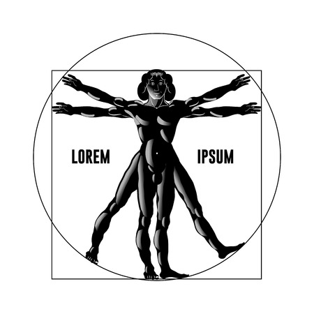 Vitruvian man silhouette on a white background. Vector illustration.