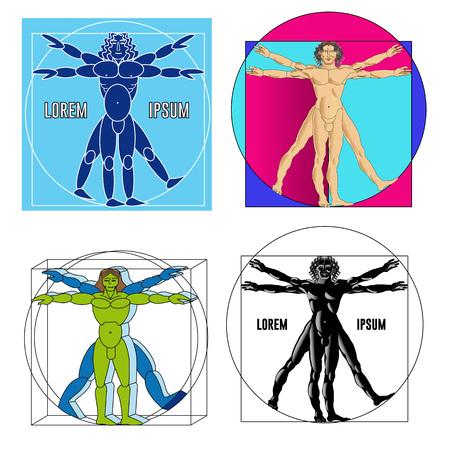 Set van vier vitruvian mensen in verschillende uitvoering. Vector illustratie. Vector Illustratie