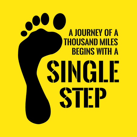 Motivational quote. A journey of a thousand miles begins with a single step. On yellow background.