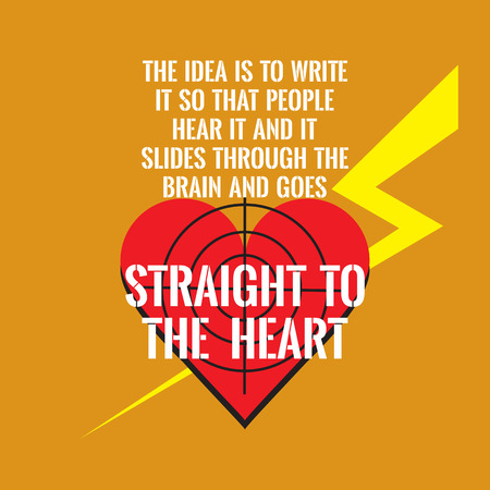 so that: Motivational quote. Red heart with inscription. The idea is to write it so that people hear it and it slides through the brain and goes straight to the heart. On orange background. Illustration