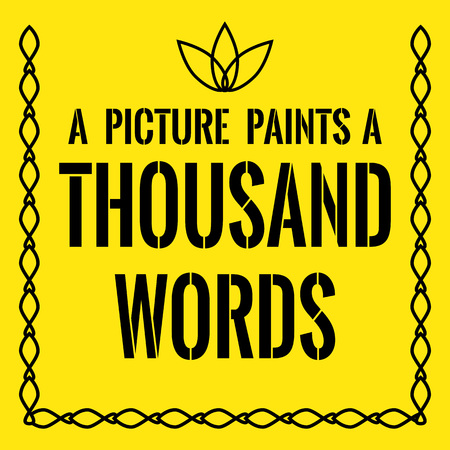 Motivational quote. A picture paints a thousand words. On yellow background.