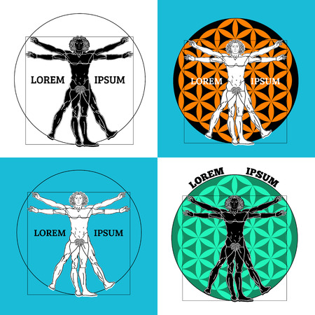 Vector illustration. Set of four vitruvian people in different execution.