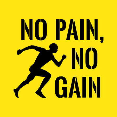 Motivational quote. Success. No pain, no gain. On yellow background. Illustration