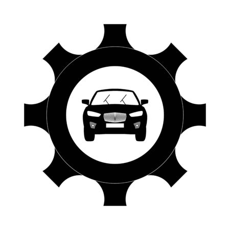 Symbol vector illustration.  Car inside gear isolated on white background.