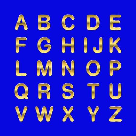 Vector golden alphabet. Golden letters. Illustration on a blue background.