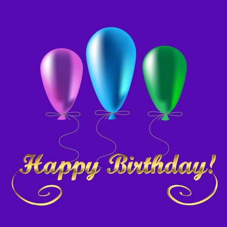 Three colored balloons and the inscription happy birthday. Vector illustration on a purple background. Illustration