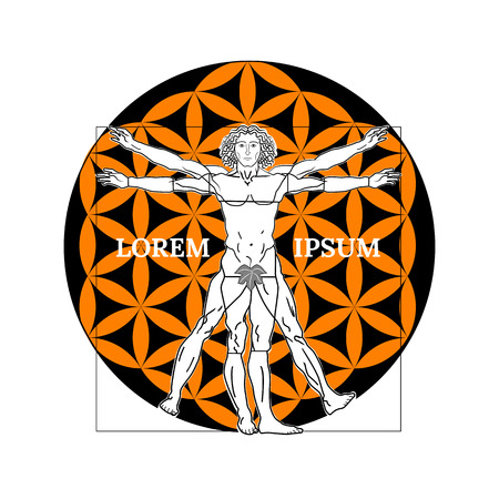 Vitruvian man symbol on a white background. Vector illustration.