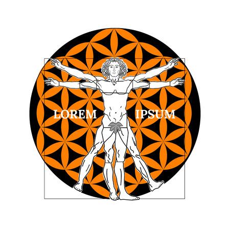 Vitruvian man symbol on a white background. Vector illustration.
