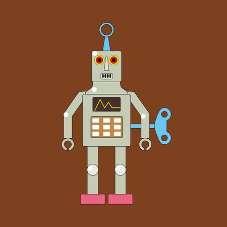 Toy robot with a winder. Vector illustration isolated on brown background. Illustration