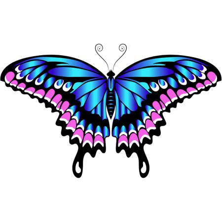 Beautiful delicate air butterfly of blue color with purple ornaments.Vector graphics.