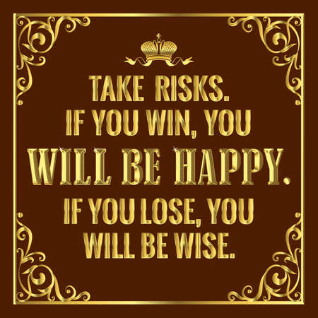 Motivating quote in golden style.