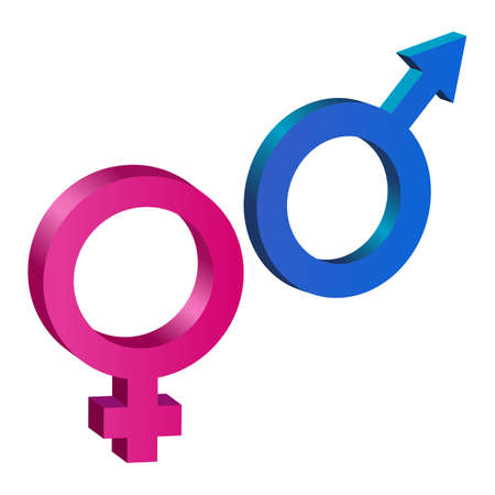 Female and male gender signs. Vector illustration isolated.
