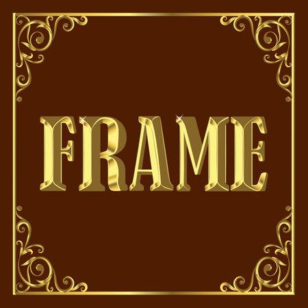 Gold, graceful, vintage, stylish frame. Vector illustration on brown background.
