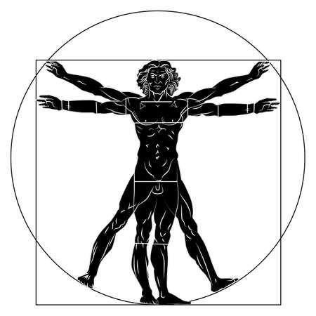 Vitruvian man silhouette stylization. Vector illustration isolated.