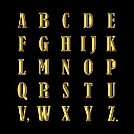 Beautiful vintage gold alphabet. Antique stylization. Vector illustration.