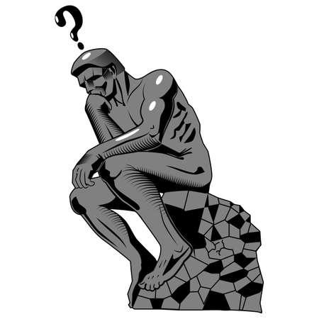 Stylized thinker statue.Vector illustration isolated.