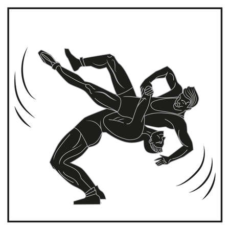 The silhouette of two wrestlers performing suplex. Symbol of wrestling and sport. Vector illustration isolated on a white background.