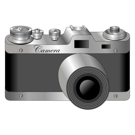 Monochrome old camera. Vector illustration isolated.