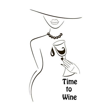 Vector negro silueta esbozó señora con el vidrio de vino gráfico sobre fondo blanco con un lugar para el texto. Elementos para el diseño del logotipo, cartel, menú, etc. Vino y el concepto de fiesta de la uva.