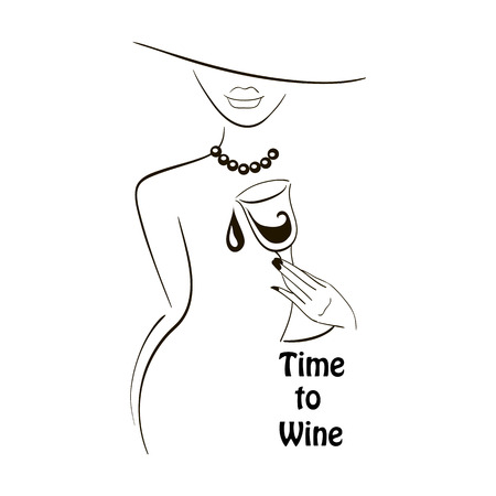 Vector black outlined lady silhouette with graphic glass of wine on white background with a place for your text. Element for your design logo, poster , menu, etc. Wine and grape festival concept.