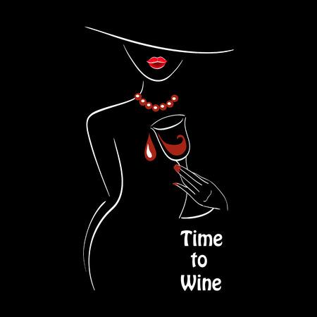 blanco Vector esboza la silueta de la señora con el vidrio de vino gráfico sobre fondo negro con un lugar para el texto. Elementos para el diseño del logotipo, cartel, menú, etc. Vino y el concepto de fiesta de la uva.