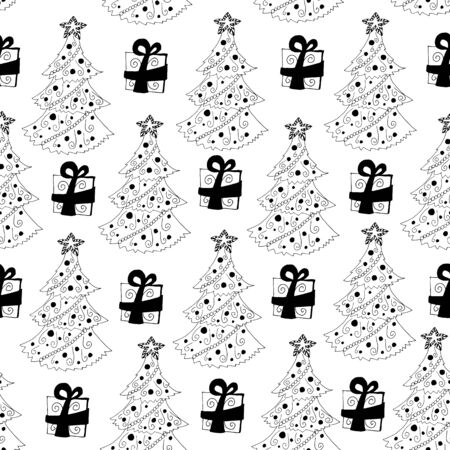 Seamless Pattern With Outlined Christmas Trees And Presents On White Background Good For Wrapping Paper