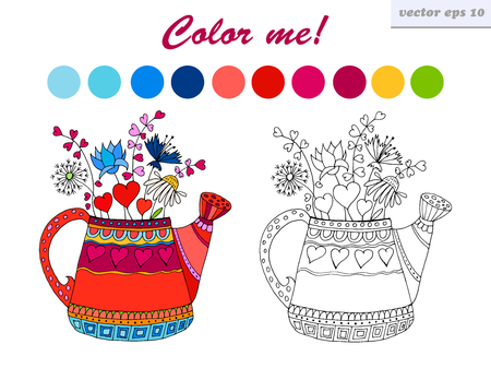 Cartoon Style Hand Drawn Vector Watering Can With Flowers And Valentine Hearts Symbol Of Spring