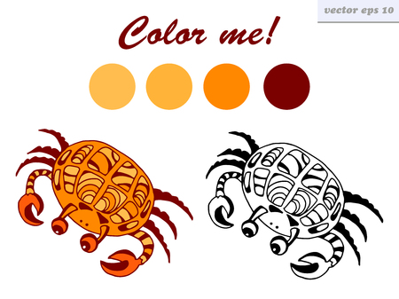 vector funny cartoon style sea crab. isolated illustration on white background. coloring page for children and preschool kids. Illustration
