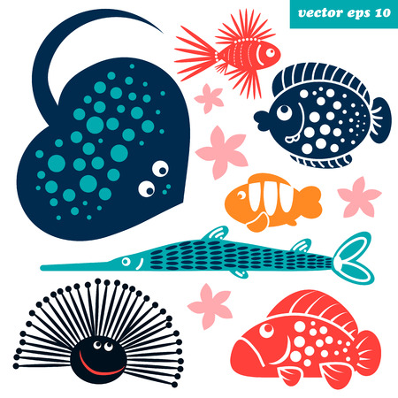 stonefish: Cute sea ceatures. Isolated vector illustrations on white background. Cartoon style elements for your design, stickers, baby decorations, etc.