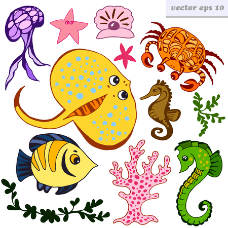 Cute sea ceatures. Isolated vector illustrations on white background. Cartoon style elements for your design, stickers, baby decorations, etc.