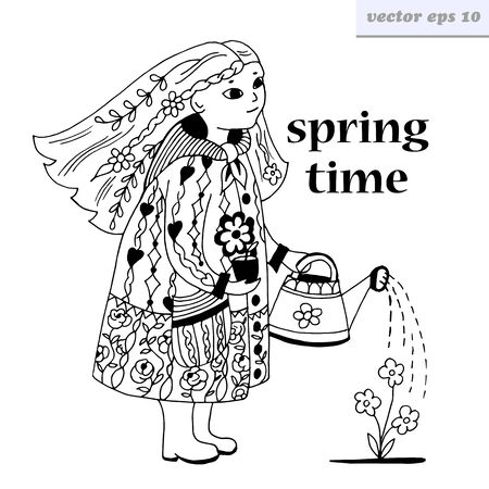 spring coat: Girl with watering can and flowers in a coat. Outlined cartoon style vector illustration on white background. Element for coloring and educational book, print, poster, etc.