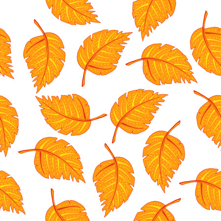autumn background: Hand drawn orange fall leaf seamless pattern. Elements foe wallpaper. wrapping paper, textile and fabric print.