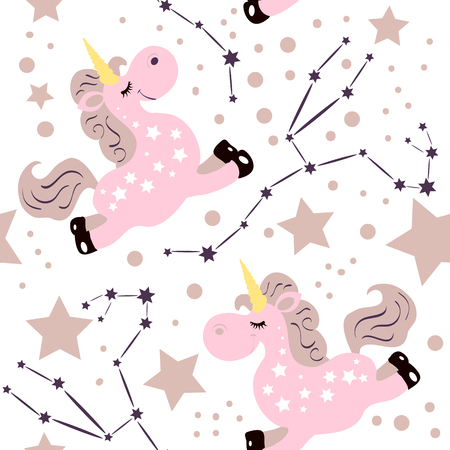 Seamless unicorn consellation pattern. Star sign with cute cartoon style unicorn. Good for kids fation designs, pijama prints, room decorations, fabric prints. 일러스트