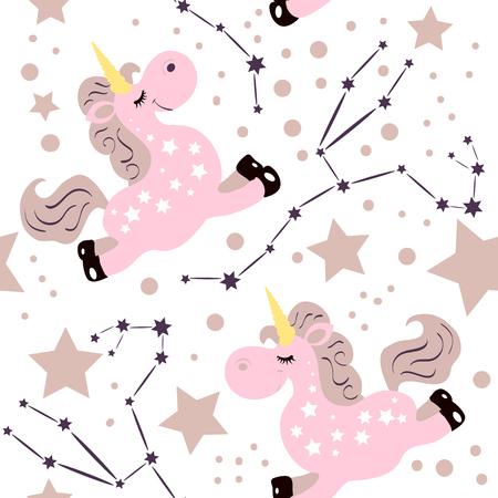 Seamless unicorn consellation pattern. Star sign with cute cartoon style unicorn. Good for kids fation designs, pijama prints, room decorations, fabric prints. Illustration