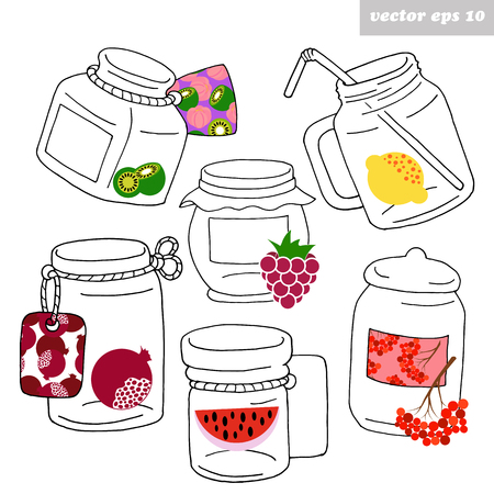 Hand drawn jars with fruits