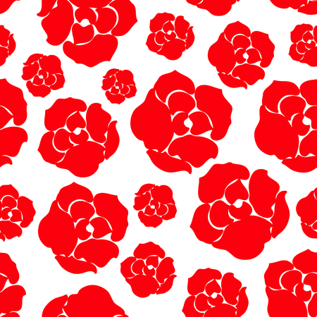 Simple red rose flower pattern. Element for textile or fabric print, poster, backgroung, wallpaper, possible to use as wrapping paper and telephone cover. Vector illustration.