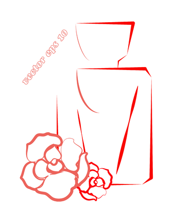 Outlined vector shape of parfume bottle with couple of simple flower rose decorations. Element for brand and logo design, print, poster, blotter paper decoration. Illustration