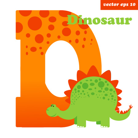 Letter D of the english alphabeth with dinosaur. Kids educational programm vector illustration, element for manual or children book. can be used as a postcad, name card, print.