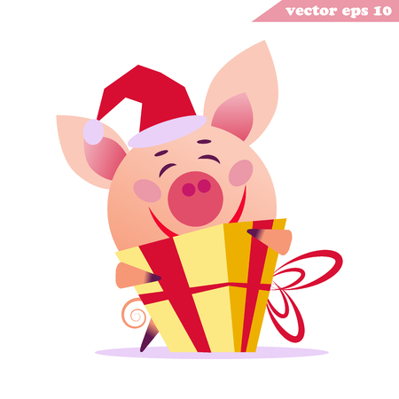 Very happy pig with present box. Funny cartoon character for the new year- box, christmas hat, bow, hug. Sticker, poster, web banner, pack cover, card.