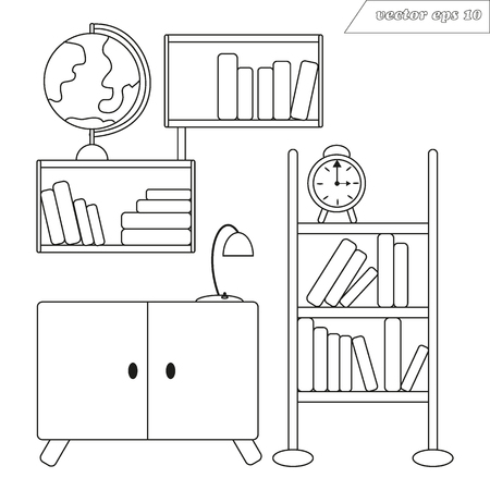 Lineart vector illustration with shelves of books with globe standing on them. Small cupboard with lamp. Illustration for your designs, decoration, logo, poster, website, sticker, coloring book and many more.