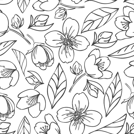 seamless outlined pattern with jasmine elements