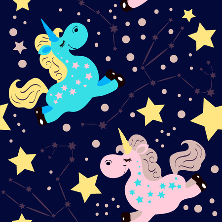 Funny cartoon style seamless pattern with pink and blue unicorns on dark background. Vector illustration. Cute children character for textile and fabric print, kids room decoration, preschool educational book.