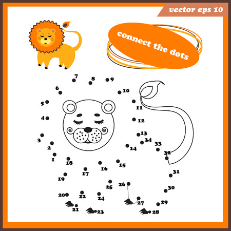 Dot to dot funny game for kids with lion