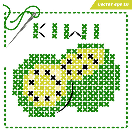 crosstiched simple kiwi with framle and needle