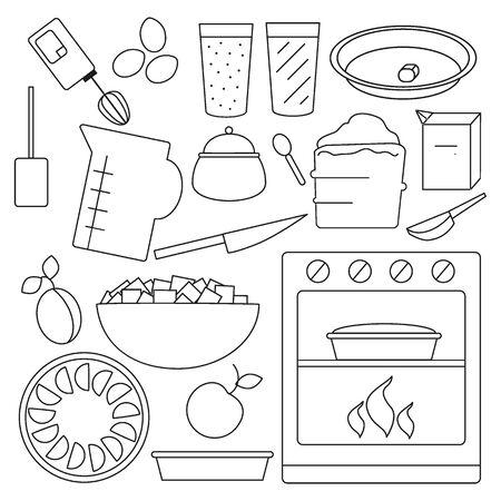 Set of vector simple line art icos