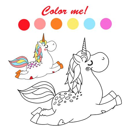Hand drawn vector outlined funny unicorn coloring book page